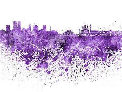 Tallinn Skyline In Purple Watercolor On White Background Poster by Pablo Romero