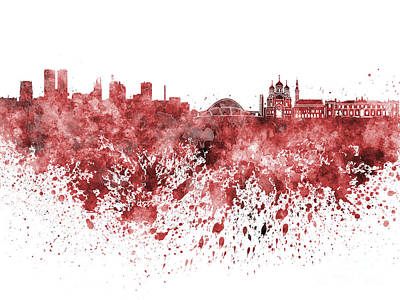 Tallinn Skyline In Red Watercolor On White Background Poster by Pablo Romero