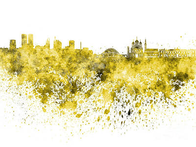 Tallinn Skyline In Yellow Watercolor On White Background Poster by Pablo Romero
