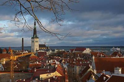 Tallinn With Dramatic Sky Poster