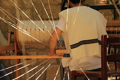 Poster featuring the photograph Jewish Prayer Shawl Weaving In Tzfat by Yoel Koskas