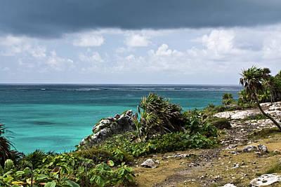 Talum Ruins Mexico Ocean View Poster