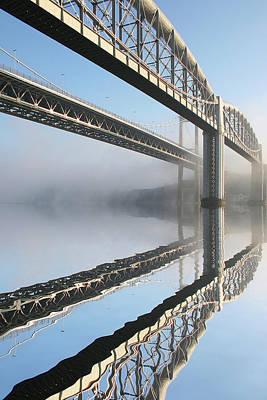 Tamar Road Bridge And Brunel Rail Bridge Poster by Mark Stokes