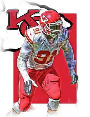 Tamba Hali Kansas City Chiefs Oil Art Poster