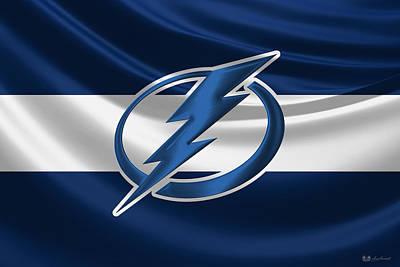 Tampa Bay Lightning - 3 D Badge Over Silk Flag Poster