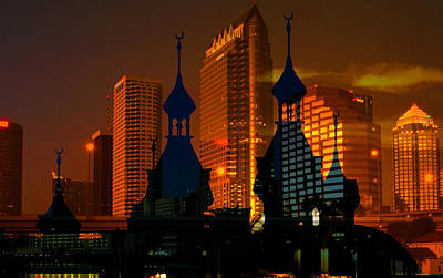 Tampa Glowing Gold Poster by David Lee Thompson