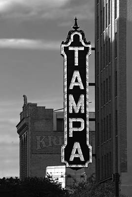 Tampa Theatre Sign - In Lights Black And White Poster by Chrystyne Novack