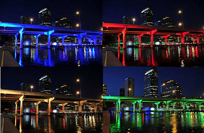 Poster featuring the photograph Tampa's Colorful Bridges by David Lee Thompson