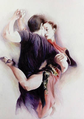 Poster featuring the painting Tango Quartet 3/4 by Alan Kirkland-Roath