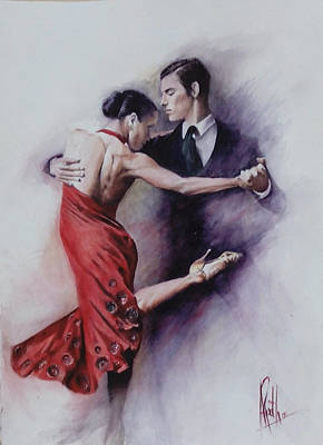 Poster featuring the painting Tango Quartet 4/4 by Alan Kirkland-Roath