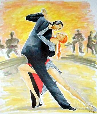Tango Tangle -- Portrait Of 2 Tango Dancers Poster by Jayne Somogy