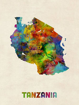 Tanzania Watercolor Map Poster by Michael Tompsett