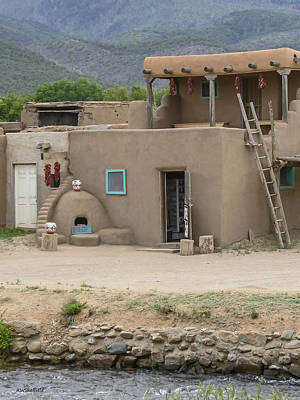 Taos Pueblo Adobe House With Pots Poster
