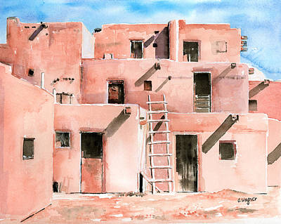 Taos Pueblo New Mexico Poster by Arline Wagner