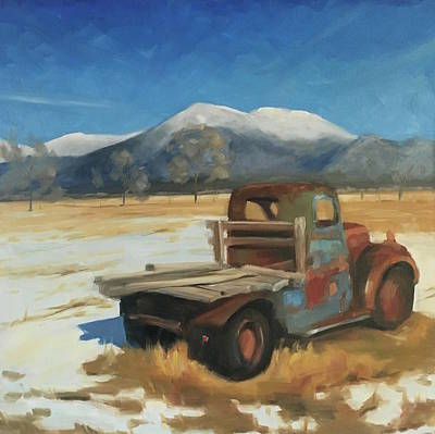 Taos Truck In The Snow Poster by Elizabeth Jose