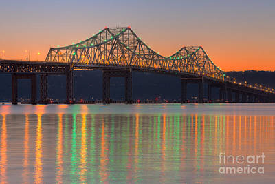 Tappan Zee Bridge After Sunset I Poster by Clarence Holmes