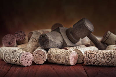 Tapped Out - Wine Tap With Corks Poster by Tom Mc Nemar