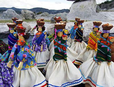 Tarahumara Dolls Dancing Amongst The Rocks Poster by Kurt Van Wagner