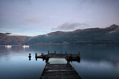 Poster featuring the photograph Tarbet Twilight by Grant Glendinning