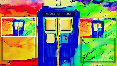 Tardis Three Poster by Justin Moore