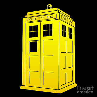 Tardis Yellow And Black Poster by Justin Moore