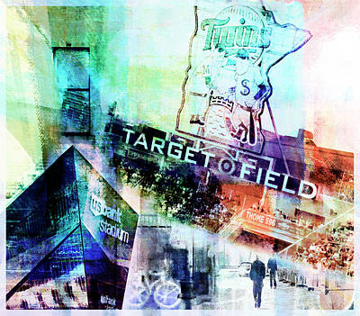Poster featuring the digital art Target Field Us Bank Staduim  by Susan Stone