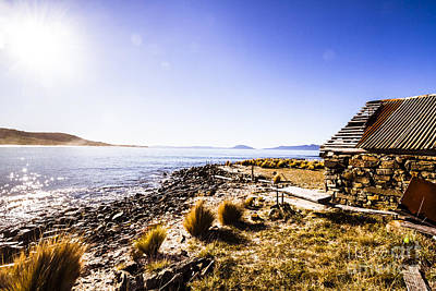 Tasmanian Boat Shed By The Ocean Poster