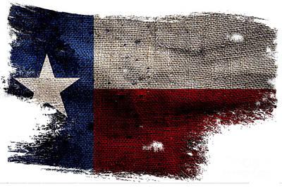 Tattered Lone Star Flag Poster by Jon Neidert