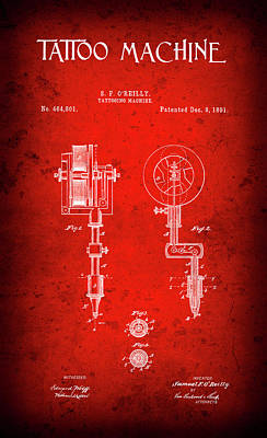 Tattoo Machine Patent  1891 Poster by Daniel Hagerman