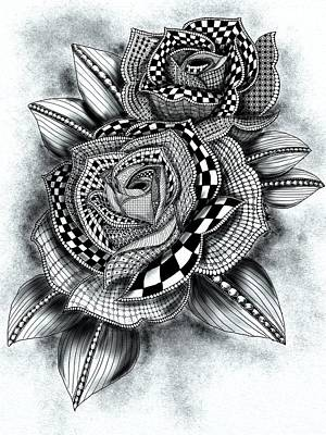 Tattoo Rose Greyscale Poster