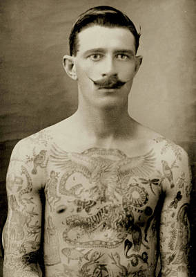 Tattooed British Sailor During The First World War Poster by English School