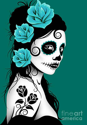 Tattooed Day Of The Dead Sugar Skull Girl Teal Blue Poster