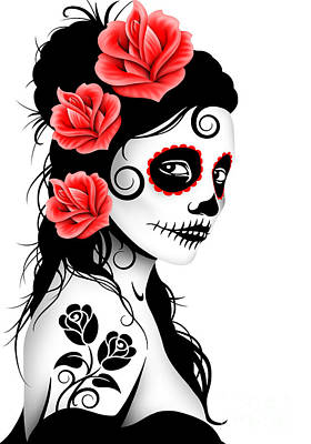 Tattooed Day Of The Dead Sugar Skull Girl White Poster by Jeff Bartels