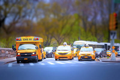 Taxis In Central Park Poster