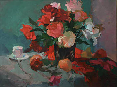 Tea And Peonies Poster
