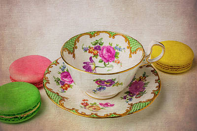 Tea Cup And Macaroons Poster