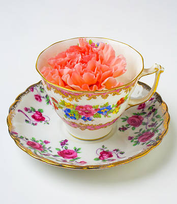 Tea Cup With Carnation Poster by Garry Gay