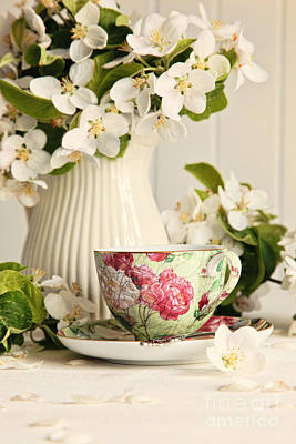 Tea Cup With Fresh Flower Blossoms Poster