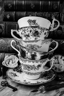Tea Cups In Black And White Poster by Garry Gay