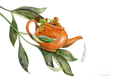 Tea Frog Poster by Amy Kirkpatrick