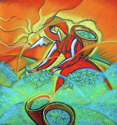 Tea  Leafs Harvesting Poster