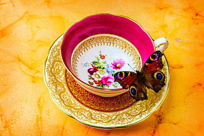 Tea Time With Butterfly Poster