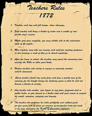 Teachers Rules 1872 Poster