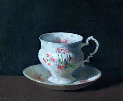Teacup And Saucer On Dark Background Poster