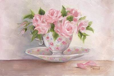 Poster featuring the painting Teacup And Saucer Rose Shabby Chic Painting by Chris Hobel