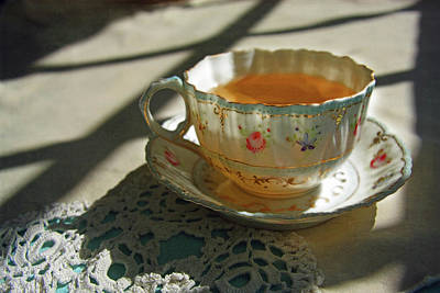 Poster featuring the photograph Teacup On Lace by Brooke T Ryan