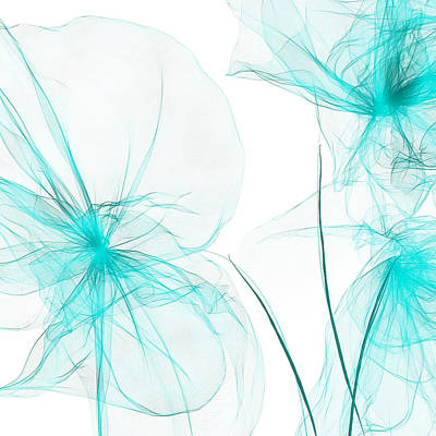 Teal Abstract Flowers Poster by Lourry Legarde