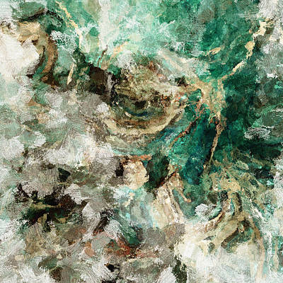 Teal And Cream Abstract Painting Poster