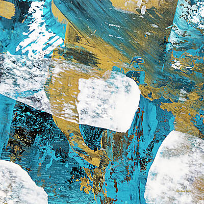 Teal Blue Abstract Painting Poster by Christina Rollo