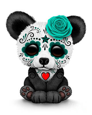 Teal Blue Day Of The Dead Sugar Skull Panda Poster
